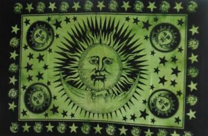 New Sun Moon Wall Hanging Home Decor Tapestry Green Tie Dye Hippie Mandala 40*30