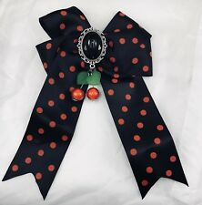 Black Red Polka Dot Spot Bow Hair Slide Clip Cherry Goth Pin Up Rockabilly