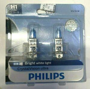NEW Headlight H1 Bulb-Crystalvision Ultra - Twin Blister Pack Philips H1CVB2