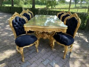 Italian Baroque Style Dining Table with 6 Dining chairs - Black and Gold