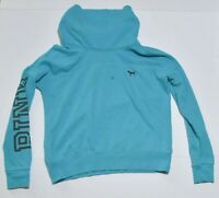 Woman's VICTORIA'S SECRET PINK Blue Hoodie Cowl Neck L/S Junior Size Extra Small