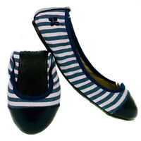 Butterfly Twists Kate Fold Up Ballerina Shoes Navy White Stripes - Various Sizes