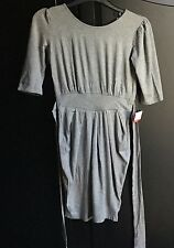 ASOS STRETCH TULIP DRESS WITH TIE BELT NEW size 8 light grey 20£ RRP 🎁