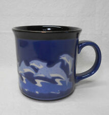 Otagiri Leaping Dolphins Coffee Tea Mug - Blue with Black Inside - Made in Japan