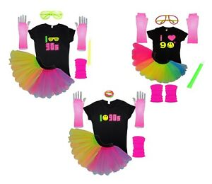 I Love 90s Neon Fancy Dress Rainbow Tutu Set T-Shirt Glow Sticks Flo Hen Party