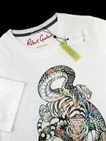 Robert Graham Cobra Tiger Graphic Print T Shirt Crew Neck White Mens Sizes M XL