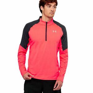 Under Armour UA Threadborne Mens Marathon Red Fitted 1/4 Zip Sports Training Top