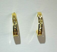 14 Karat Round  Diamond  J  Hoop Earrings  Gold