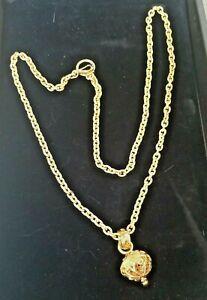 """Rare Vintage FENDI signed Gold Tone Metal Chain Belt / Necklace 36"""" adjustable"""