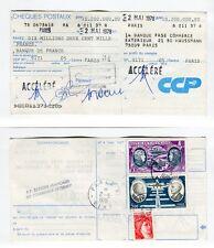 Rarissime Chèque CCP 10200000 F de 1978 AVEC Timbres Fiscaux Remplacés par T. P.