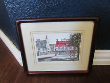Artist Drawing Pen and Ink Rue du Tresor Quebec Signed Magher Framed and Matted