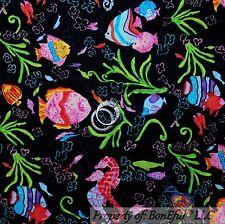 BonEful Fabric FQ Cotton Quilt VTG Black FISH Coral Reef Rainbow Sea Horse Beach