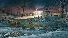 Terry Redlin A Helping Hand S/N Christmas tree Sleigh Print