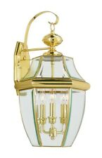 Polished Brass 3 Light Livex Monterey Outdoor Wall Lantern Sale Fixture 2351-02
