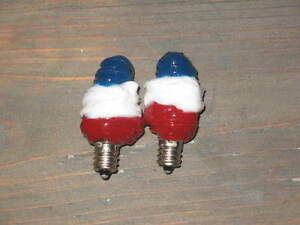 5 Watt Primitive Americana Silicone Bulb set of 2  /  Country Dip red/white/blue