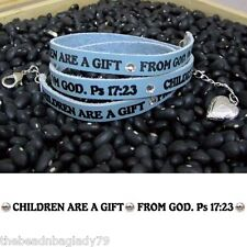 BLUE LEATHER Wrap Bracelet CHILDREN ARE A GIFT FROM GOD Made in USA HEART CHARM