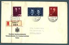 LIECHTENSTEIN - 1943 – Matrimonio del Principe regnante serie su raccomandata.