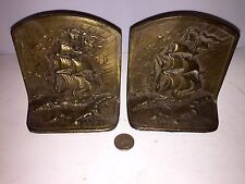 Antique Clippership Solid Brass Bookends Nice Look!