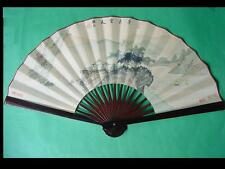 Large ANTIQUE CHINESE FAN WATERCOLOR on SILK Signed.