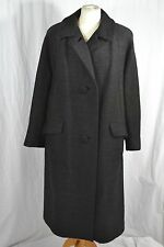 VINTAGE dark grey heavy wool coat 1960s size large 14-16 with large buttons
