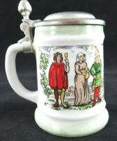 Miniature Stein Shot Glass w/Pewter Lid VINTAGE Ceramic Made in W. Germany