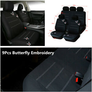 9Pcs Butterfly Embroidery Car Seat Cover Universal Fit Most Car Interior Seats
