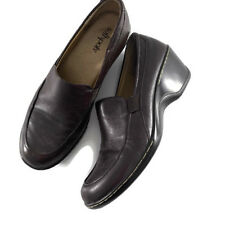 Softspots Womens Shoes Brown Leather Heeled Loafers Size 9.5 M