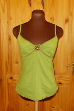JOE BROWNS green gold brass bead strappy camisole vest tunic top 8 36 summer