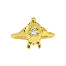 Silver Fashion Tortoise Adjustable Toe Ring 14K Yellow Gold Finish 925 Sterling
