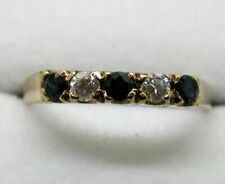 Lovely 9 carat Gold Blue Topaz And White Stone Half Eternity Style Ring Size N