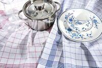 10er Pack Geschirrtuch Poliertuch Küchentuch  rot blau kariert 100% Baumwolle