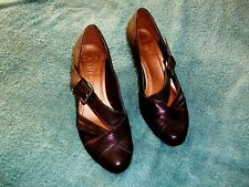 clarks 'softwear' ladies black leather buckled court shoes   size  4d  uk