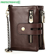 Men's 100% Cowhide Leather Zipper Wallet RFID Blocking ID Card Holder Coin Purse