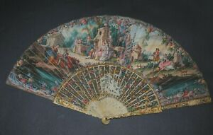 SUPERB ANTIQUE FRENCH HAND PAINTED PASTORAL SCENE FAN