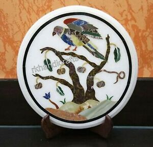"""Multi Color Bird Art Coffee Table Top White Marble Side Table for Bedroom 15"""""""
