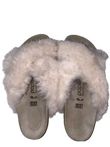 PAPILLIO Birkenstock Sandals Fluffy Genuine Shearling Portugal  SZ 38 Euc