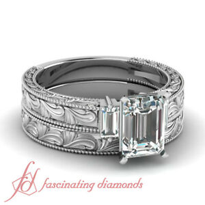 1.10 Ct Emerald Cut VS1 Diamond Milgrain Carved Gold Engagement Rings For Women