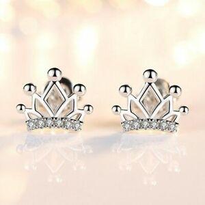 Womens Girls 925 Sterling Silver Crystal Crown Stud Earrings Jewellery Gift UK