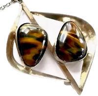 "Vintage Very Large Sterling Silver Tigers Eye Modernist Pendant 31"" Necklace"