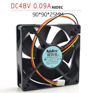 NIDEC D09A-48TS1 01B 48V 0.09A 9CM 9025 Double Ball Bearing Silent Cooling Fan