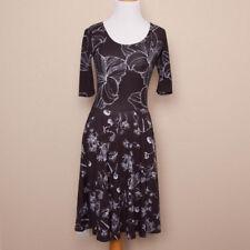 LuLaRoe Black and White Floral Print Nicole Dress Size XS