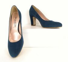 Louisa Klaps Blue Suede Heels Pumps Dress Shoes 38 7.5 Made In Italy RARE (S178)