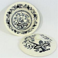 Kensington Staffordshire Covered Serving Bowl Dish Ironstone England Blue Onion