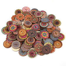 100pcs Mixed Vintage Wood Handmade 2 Holes Wooden Button Sewing Scrapbooking DIY