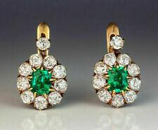 14K Yellow Gold Over 1.50 Ct Round Cut Green Emerald Diamond Halo Hoop Earrings