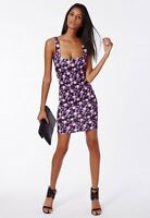MISSGUIDED CHERISH BODYCON DRESS PURPLE FLORAL (M13/10)