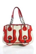Fendi Ivory Canvas Pewter Tone Red Patent Leather Contrast B Satchel Handbag
