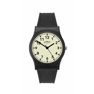 Limit Unisex Luminous Dial Black Rubber Strap Analogue Wristwatch 60035