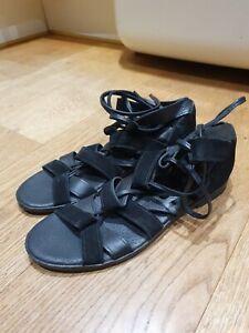 Ladies Lace Tie Up Ankle Wrap Around Sandals  size 6 black