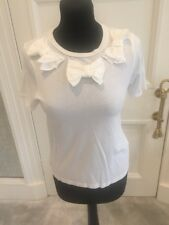 Women's Topshop White T-shirt With Bow Detail Uk Size 8